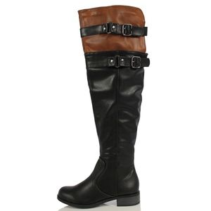 Shoes - Size 7.5 Black Tan Two Tone Over the Knee Boot
